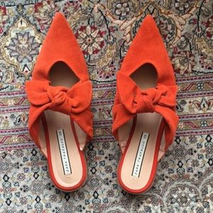 zara comfy mules flats slides with orange bow 🎀🎀